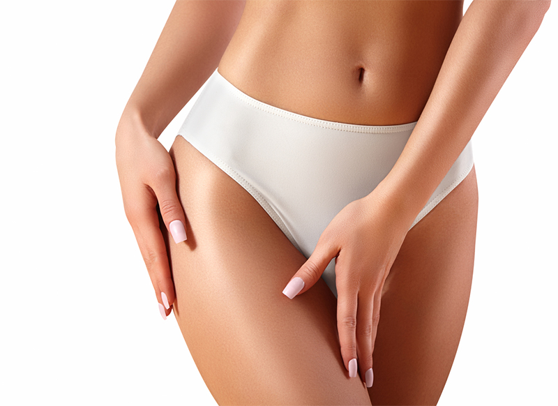 Spa and wellness. Healthy slim body in white panties. Beautiful sexy hips with clean skin. Fitness or plastic surgery